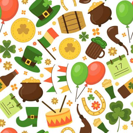 Motley seamless pattern St. Patricks Day. Flat style. Vector illustration.