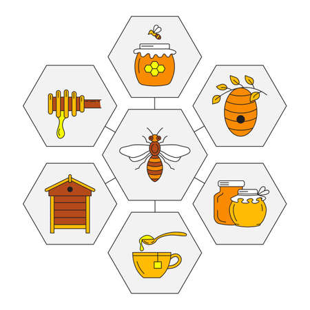 Set of linear icons honey. Vector illustration.