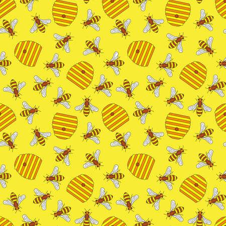 Pattern of beekeeping in motley seamless Vector illustration. Illustration