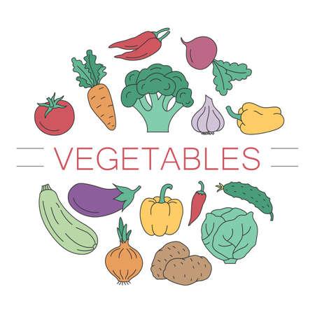 Un círculo de vegetales. Cocina y alimentación saludable. Para un volante o una impresión.
