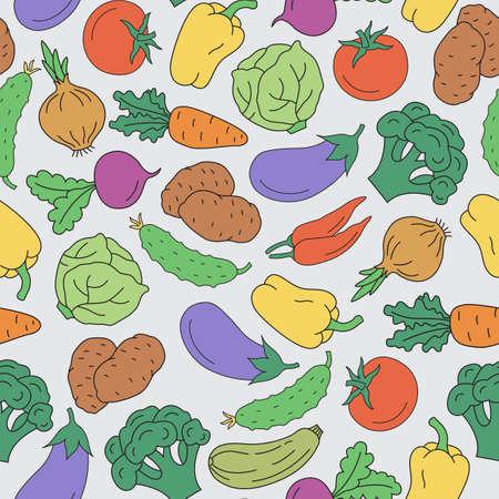 Seamless pattern of vegetables. Vector illustration.