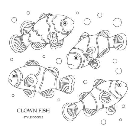 anemonefish: Elements of a clown fish made in the style of doodle. Vector illustration. Illustration