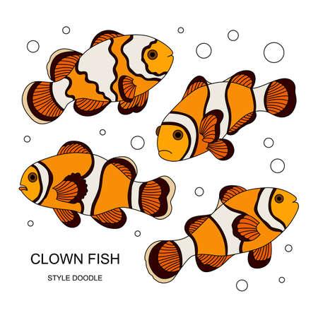 Elementos de un pez payaso hecho en el estilo de doodle. Ilustración del vector.