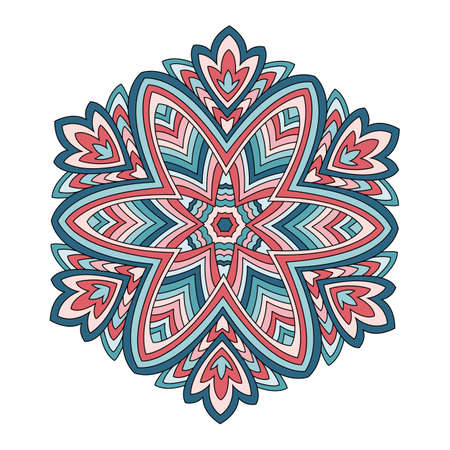 Mandala colorful. The round ornament. For use in the decoration of fabrics, fabric design, printing, tattoo, jewelry hippie. Illustration