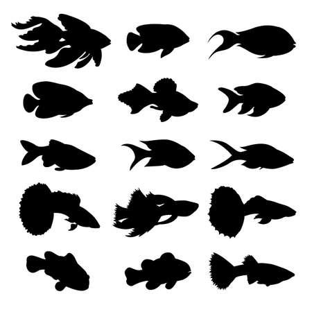 guppies: Silhouette of fish. Set of icons. Vector illustration.