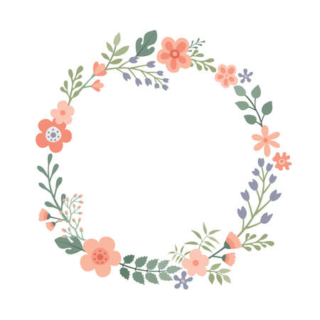 Beautiful round frame with wildflowers.