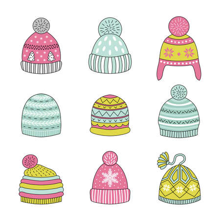 head protection: Linear icons winter hat. Vector illustration.