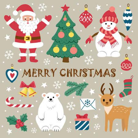 Set of Christmas elements.  Flat style.  Vector illustration.