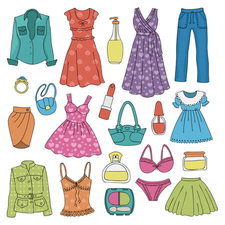Set of female clothes. Objects on white. Vector illustration.