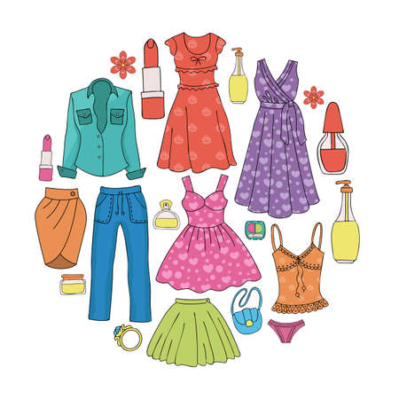 A set of womens clothing and cosmetics. Womens wardrobe. Vector illustration. Illustration
