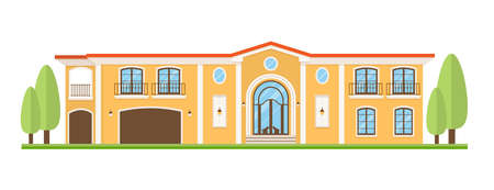 Country house icon. Flat style  Vector illustration on white background.