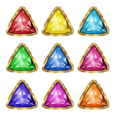 Colored gemstones set in gold. Vector illustration.