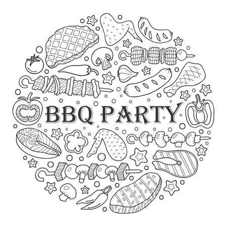 Barbecue poster. BBQ party template frame with hand drawn meat, chicken, fish, sausage and tools. Vector hand drawn sketch illustration.