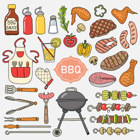 Elements of barbecue. Made in the style of a sketch. Vector illustration.
