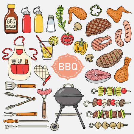 Léments de barbecue. Réalisé dans le style d'un croquis. Illustration vectorielle. Banque d'images - 97366420