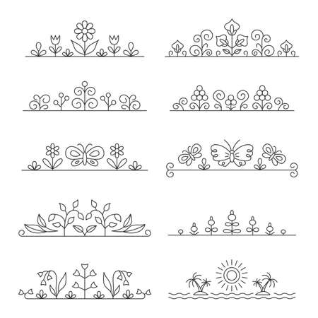 Linear typographical elements plants, flowers. Suitable for postcards, advertising signs and packaging.