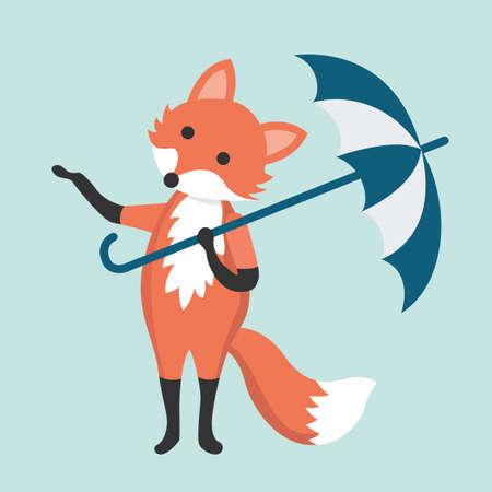 A fox with an umbrella. Illustration