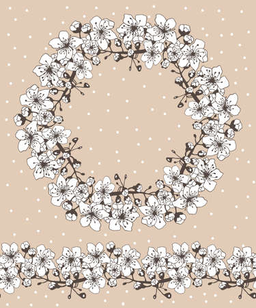 Wreath and brush of apricot flowers. Can be used for wedding invitations. Vector illustration.