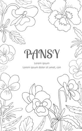 Background of flowers pansies. Sketch style. Vector illustration.