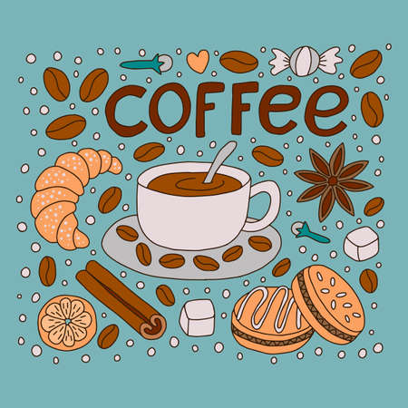 Coffee with desserts and drawn letters. Doodle style. Vector illustration.