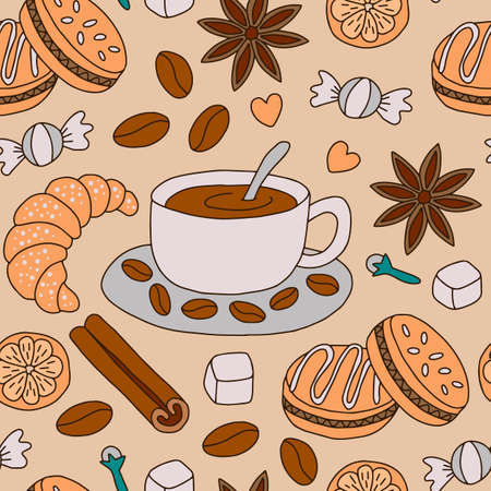 Seamless pattern coffee and desserts. Doodle style. Vector illustration. Ilustração
