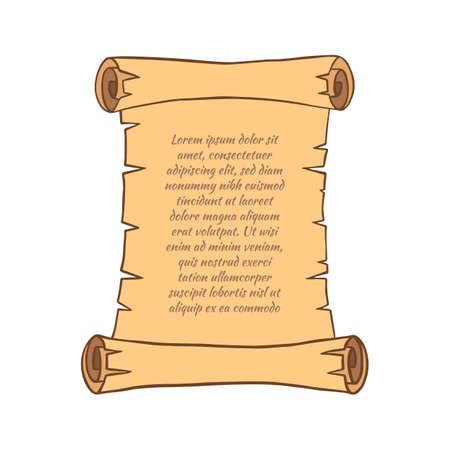 Rouleau de parchemin avec texte. Style de bande dessinée. Illustration vectorielle.