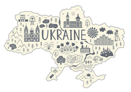Map of Ukraine. Doodle style Vector illustration.