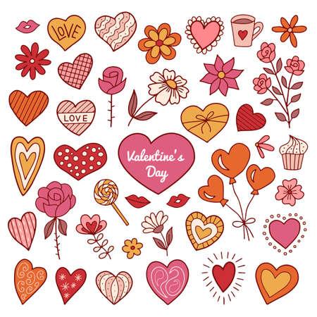 Set of valentines day elements. Doodle style. Vector illustration. Illustration