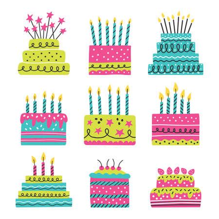 Cake icons set. Isolated on white background. Vector illustration. Vector Illustration