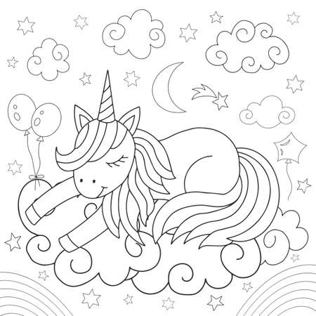 Cartoon unicorn on a cloud. Coloring for children. Vector illustration.