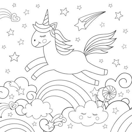 Cute unicorn and rainbow. Coloring for children. Vector illustration.