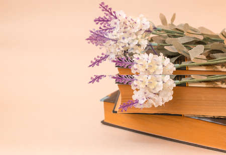 A branch of lilac lies on a stack of books on a light background. Side view. Space for text. Vertical photo 스톡 콘텐츠