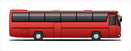 Vector tourist bus, side view, template isolated on white background.