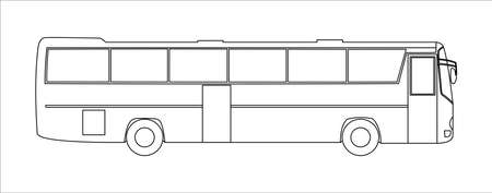 Outline vector tourist bus, side view, template isolated on white background.
