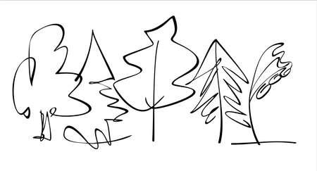 Árboles caducifolios y coníferos dibujados con líneas. Vector, aislado.