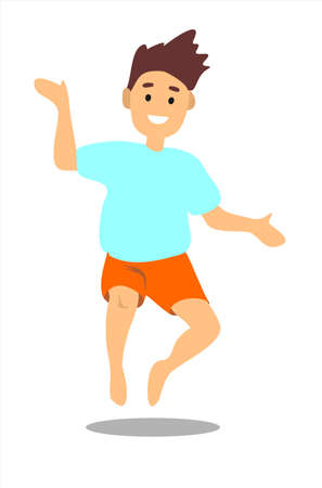 Barefoot jumping boy with dark hair in a green T-shirt and blue shorts. Vector illustration isolated.