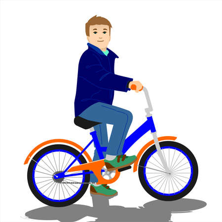A boy in casual clothes is sitting on a bicycle and smiling. Vektorové ilustrace