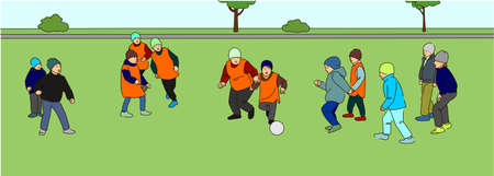 Children play football outdoors. The boys are kicking the ball. Ilustração
