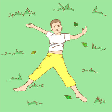 A smiling barefoot boy in a T-shirt and pants is lying on the grass. Vector illustration. 向量圖像