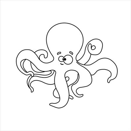 Octopus. Smiling Funny Friendly Octopus. For Childrens Coloring Books. Outline Vector Image on white background.