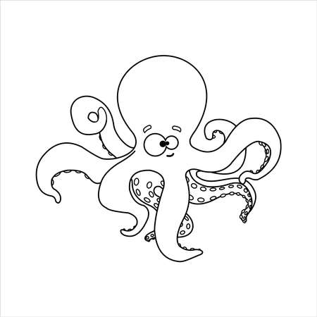Octopus. Smiling octopus With Suckers On Tentacles. Friendly Octopus. For Childrens Coloring Books. Outline Vector Image on white background. 일러스트