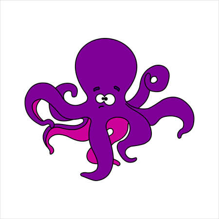 Octopus. Sad funny friendly octopus. For a childrens coloring book. Vector image on white background.