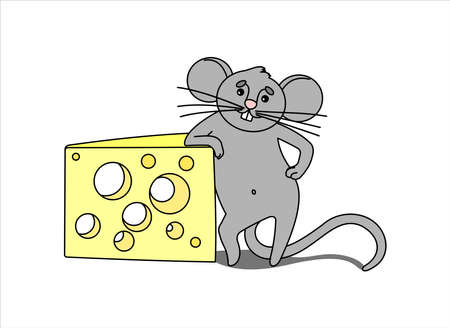 Mouse With Cheese. The Impudent Mouse Stands On Its Hind Legs, Rests On a Piece of Cheese With Holes. Outline Vector Image isolated on white background. Illustration