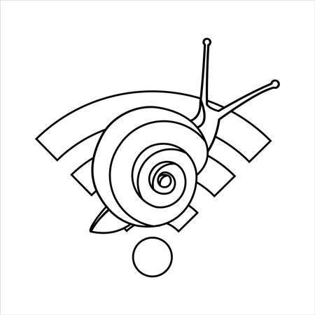 Outline Snail On The  Sign, for Coloring. Slow Internet Speed. Symbol of Slowness. Modern flat Vector illustration on white background.