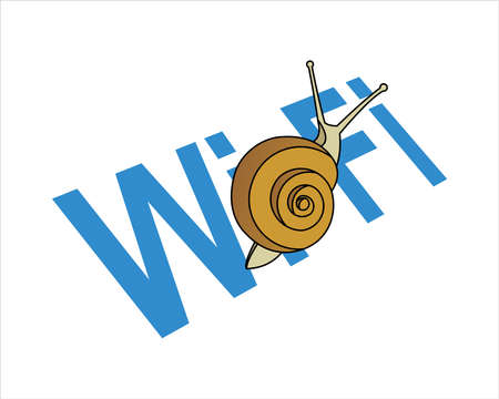 Snail On The Word . Slow Internet Speed. Symbol of Slowness. Modern flat Vector illustration on white background.