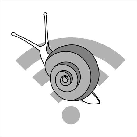 Snail On The Sign. Slow Internet Speed. Symbol of Slowness. Modern flat Vector illustration on white background.