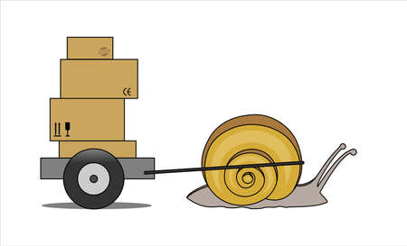 Snail Carries A Cart With Boxes, Side view. Slow Delivery. Signs on Cardboard Boxes. Symbol of Slowness. Modern flat Vector illustration on white background. 일러스트