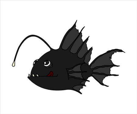 Terrible and funny fish with a flashlight. Anglerfish With Bait. Sea fish is licked. Modern flat vector image isolated on white background.