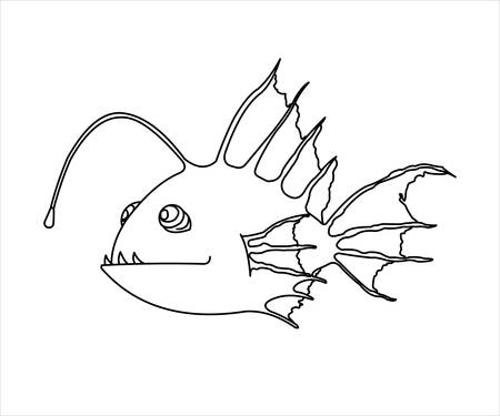 Outline A Terrible and Funny Fish With a Flashlight. Anglerfish. Sea Fish. Modern flat Vector image Isolated on white background.