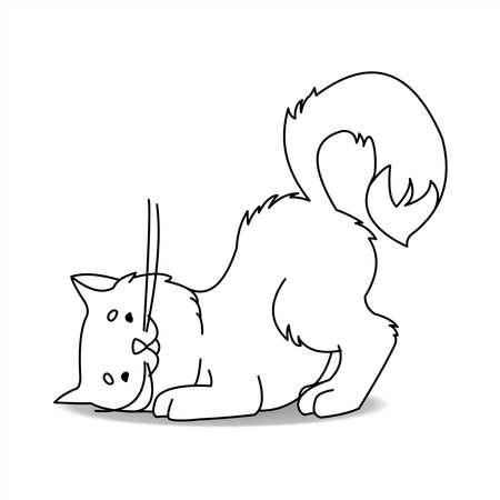 Lindo gato. Contour Cat busca un ratón, caza ratones. El gato de contorno escucha el susurro de los ratones debajo del suelo. Para la página del libro para colorear. Ilustración de vector aislado sobre fondo blanco.